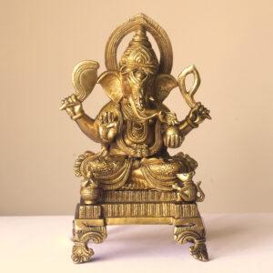 golden ganesha brass statue